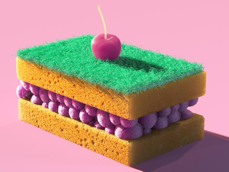 Sponge Cake web digitalart shading cloth octanerender marvelous designer c4d zbrush design concept cgi illustration concept art cinema 4d 3dartist 3d art