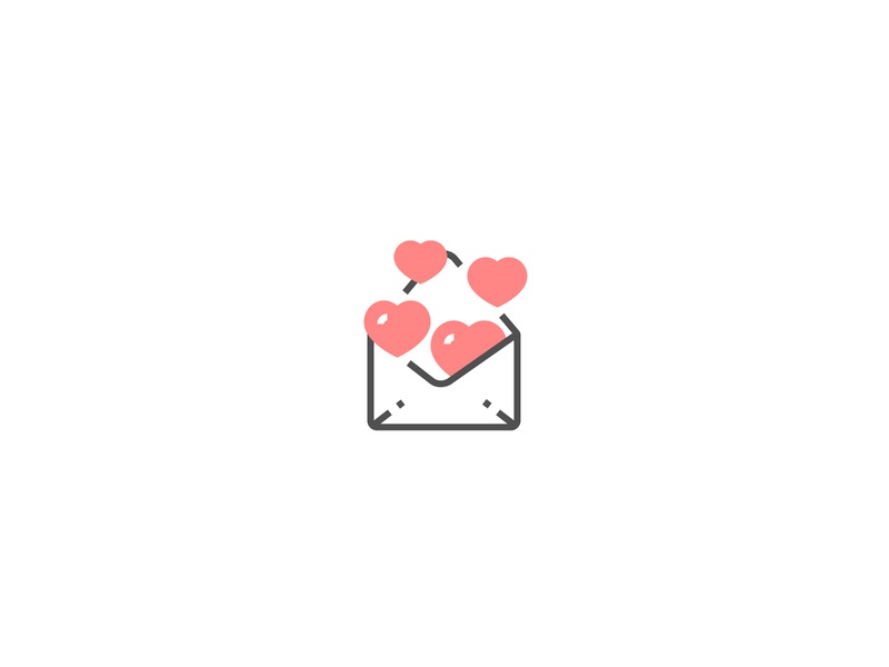 Letter with hearts Icon red design perfect pixel icon valentine day valentine love heart message letter
