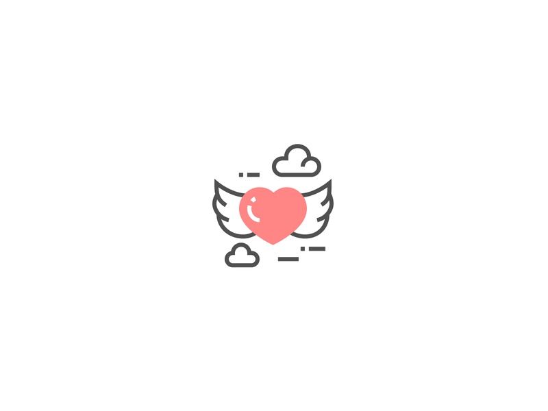 Flying heart with wings Icon cloud lover red perfect pixel lovely icon valentine day valentine romantic wings flying flyer heart love