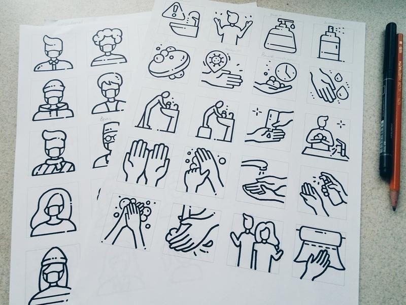 Sketches icon of Coronavirus drawing hand drawn perfect pixel icon virus mask medical health coronavirus corona sketches sketch