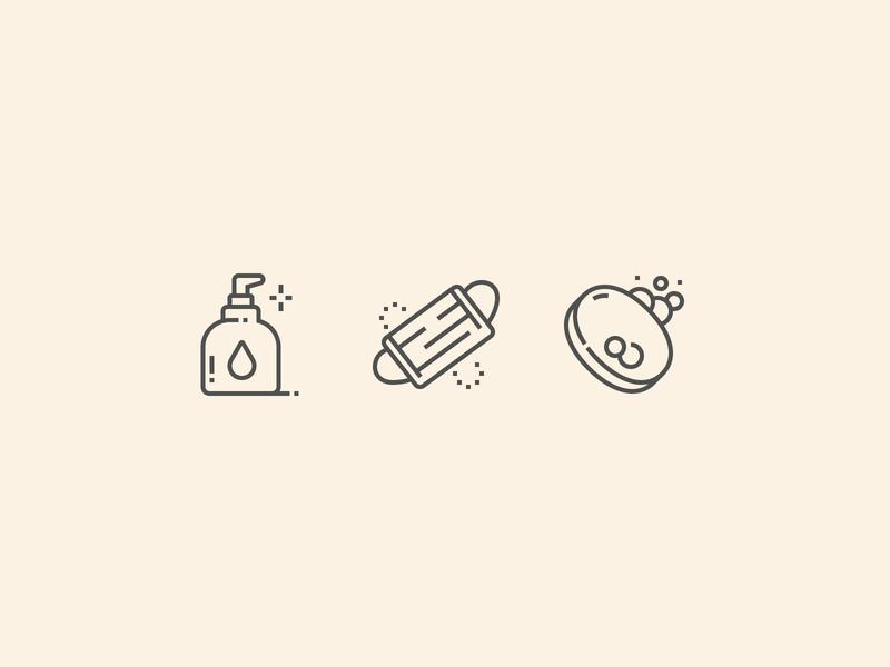 Personal hygiene Icon perfect pixel vector soap design rules icon mask medical corona coronavirus antivirus antiseptic hands wash hygiene