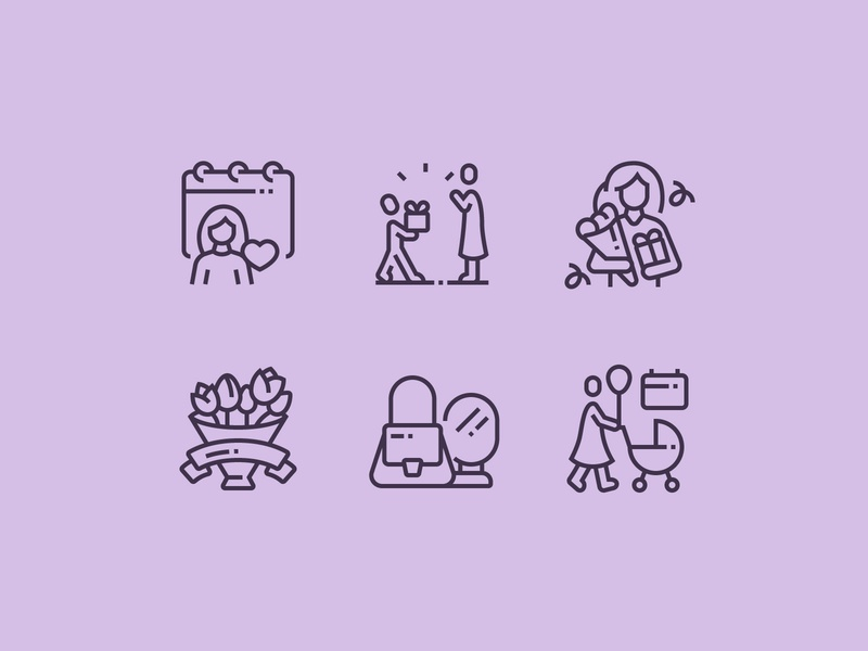 Mother´s Day Icons perfect pixel icon icons gift calendar motherday flower family kid child event celebration celebrate mothersday mother mom