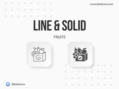Line and Solid Icons bag apple graphic vector perfect pixel style food vegetables peach watermelon fruit icon icons solid line