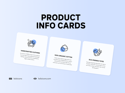 Product Information Cards eco ecologic info graphic seamstress perfect pixel vector design ecology cotton icons icon cards information product
