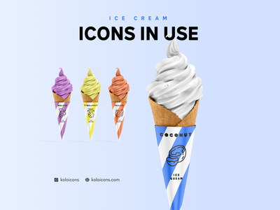 Ice Cream Icons in use illustration example caffee shop inspiration user experience logo food icecream ice use design icons perfect pixel icon