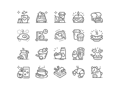 Good morning! Amazing Breakfast Icons are here! breakfast web svg simple pixel perfect icons design icon