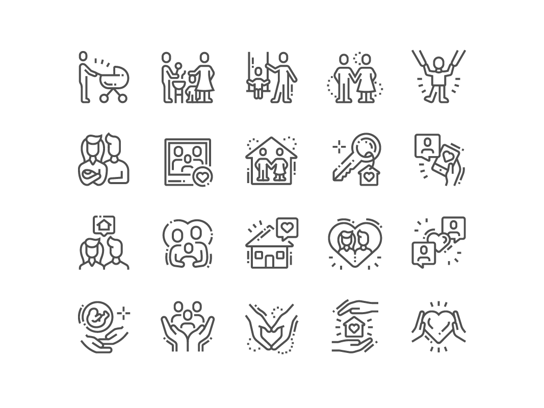 Family Icons collection set graphic design icons perfect pixel icon home love family