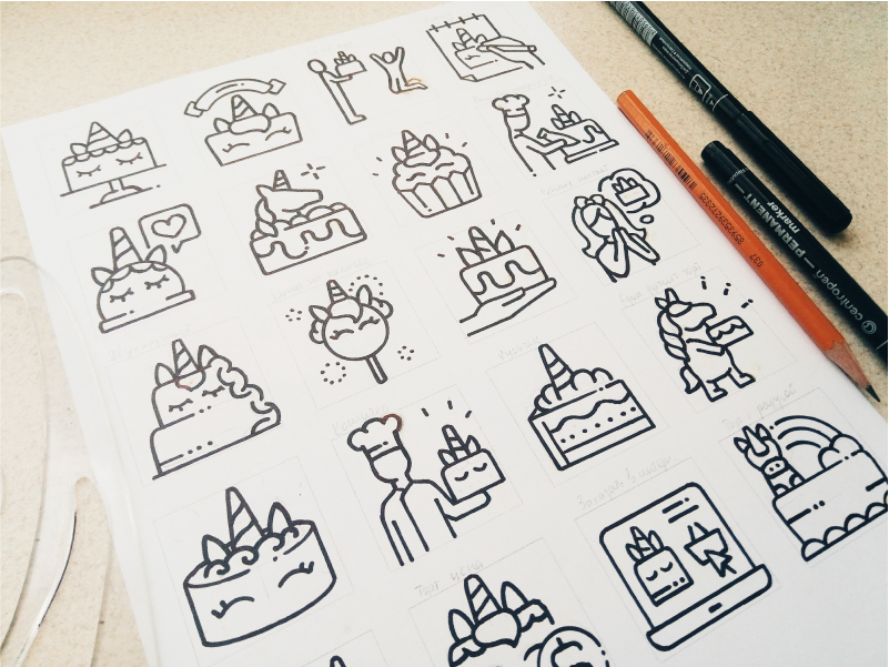 Unicorn cake sketches by Pictogramer on Dribbble