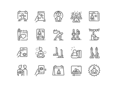 International Yoga Day Icons