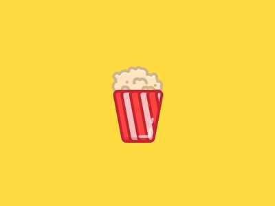 Popcorn minimalistic simplistic illustrator theater bucket icon popcorn