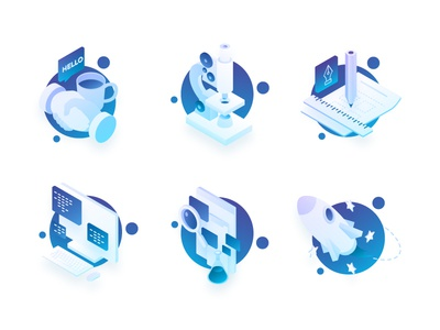 Process illustrations icons isometric web search rocket meeting research testing launch design development process