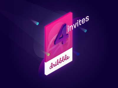 Giving away 4 invites! isometric four card basketball ui invites ticket dribbble prospects invitation invite
