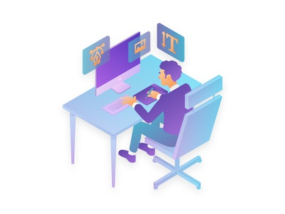 Hard work isometric illustration website screen icons design graphic process desk designer