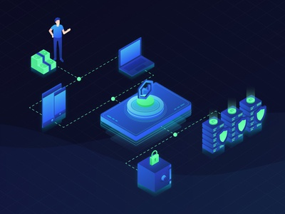 Crypto Platform Illustration investor smartphone laptop illustration platform safe servers technology cash isometric crypto