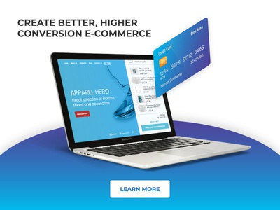 Facebook ad for a digital agency basket purchase shop e-commerce banner facebook card credit laptop ad