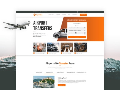 Alpine Travel Home Page booking form airport process content design mountains header main menu tabs ui uxd web design home page website form airplane transfer bus