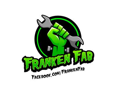 Franken Fab Branding logo branding identity frankenstein fabrication atlanta illustration fist wrench