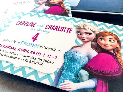 Birthday Invites for my Girls birthday invitation frozen chevron twins