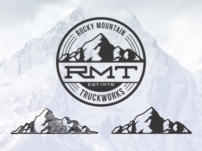 RMT Logo Pitch branding identity logo mountains off-road trucks rockies rocky mountains illustration lettering typography vintage