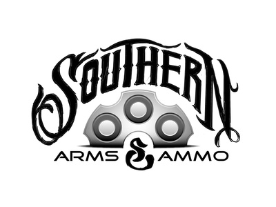 Southern Arms & Ammo Branding branding identity logo southern guns bullets ammo typography lettering logotype revolver georgia