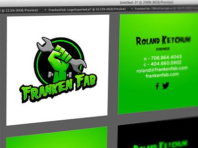 Franken Fab Business Card Design branding logo frankenstein business card wrench mechanic automotive fabrication fist hand green custom