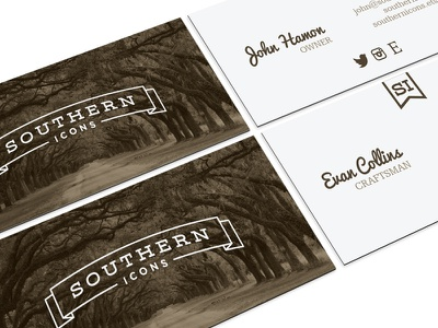 Southern Icons - Business Cards southern woodworking carpentry farmhouse business cards design trees south georgia atlanta rustic vintage