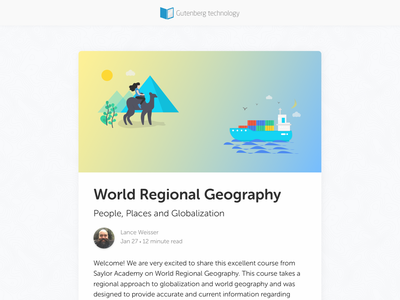 Geography course design instructional topographical museo sans sketch app education app course learning management system illustration vector