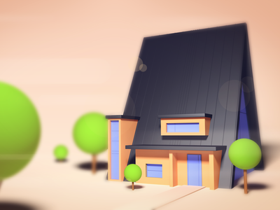 Tiny House illustration isometric low poly photoshop cinema 4d 3d