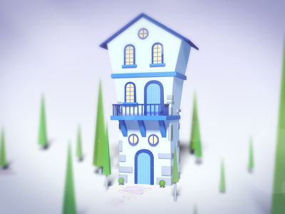 Whimsical House photoshop isometric lowpoly cinema4d 3d