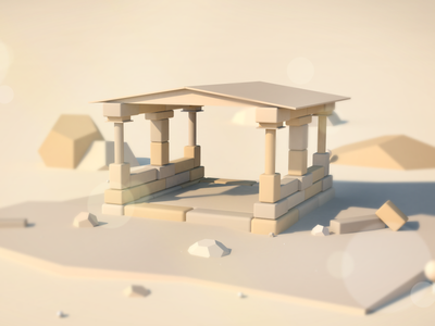 Ancient Ruins photoshop illustration isometric lowpoly cinema4d 3d