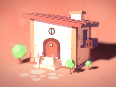 Tiny Medieval House isometric lowpoly cinema4d photoshop illustration 3d