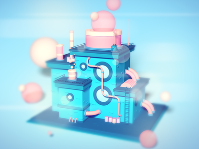 Bubble Factory photoshop illustration lowpoly cinema4d isometric 3d
