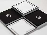 Squared b/w business cards raised spotgloss