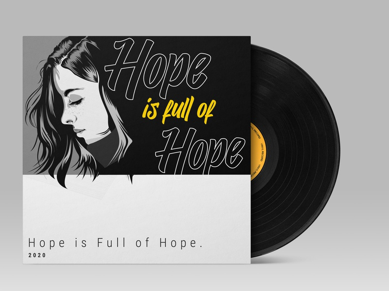 2020 hope. black yellow girl portrait illustration portrait flat illustration design