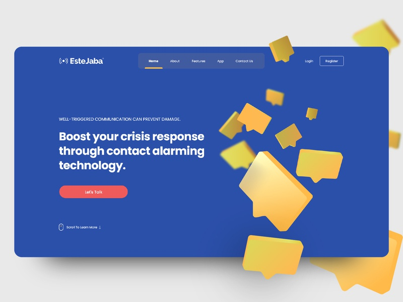 Estejaba website response alarm app yellow blue massege alarm landing page web ux flat app illustration ui