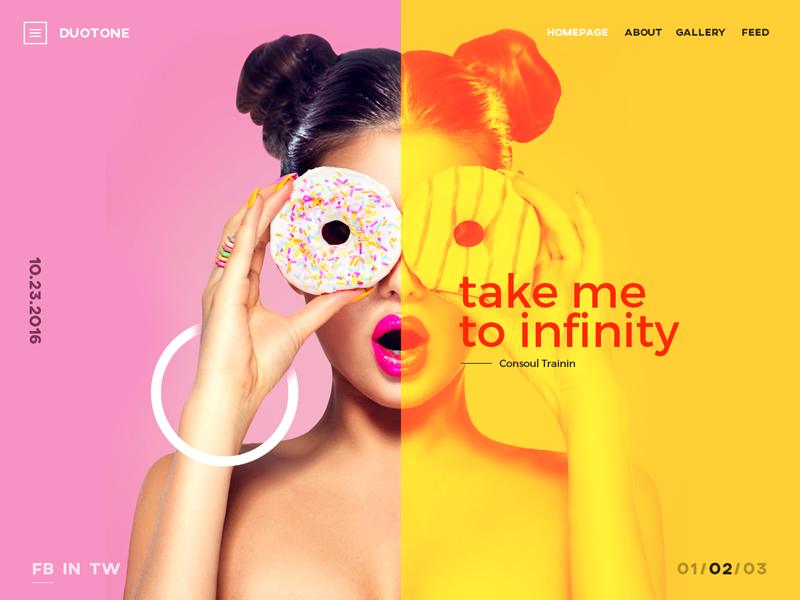 Duotone spotify girl split circle donats ui ux slider landing shop tone
