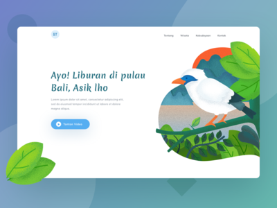 Header For Bali Landing Page website landing page vacation paradise bird color bali illustrat