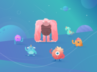 Monsters illustration cute monster outer space yeti monsters characters