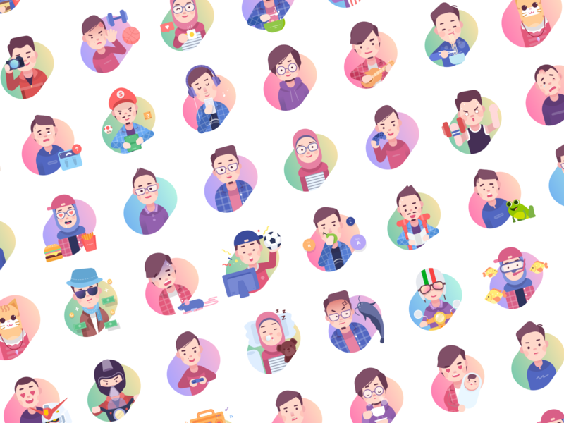 Paperpillar Team Expressions expression mood simple illustration avatar team character avatars