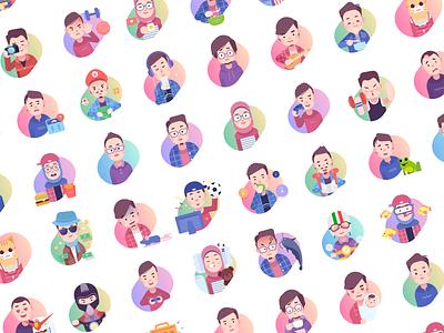 Paperpillar Team Expressions expression mood simple illustration avatar team character avatars