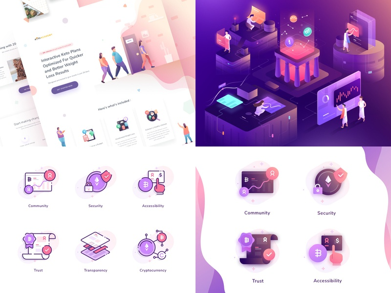 Paperpillar Top 4 2018 icons character website gradient landing page illustration