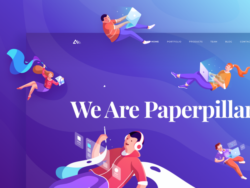 Paperpillar Landing Page 2019 character agency branding typography fun colorful agency website landing page modern gradient illustration