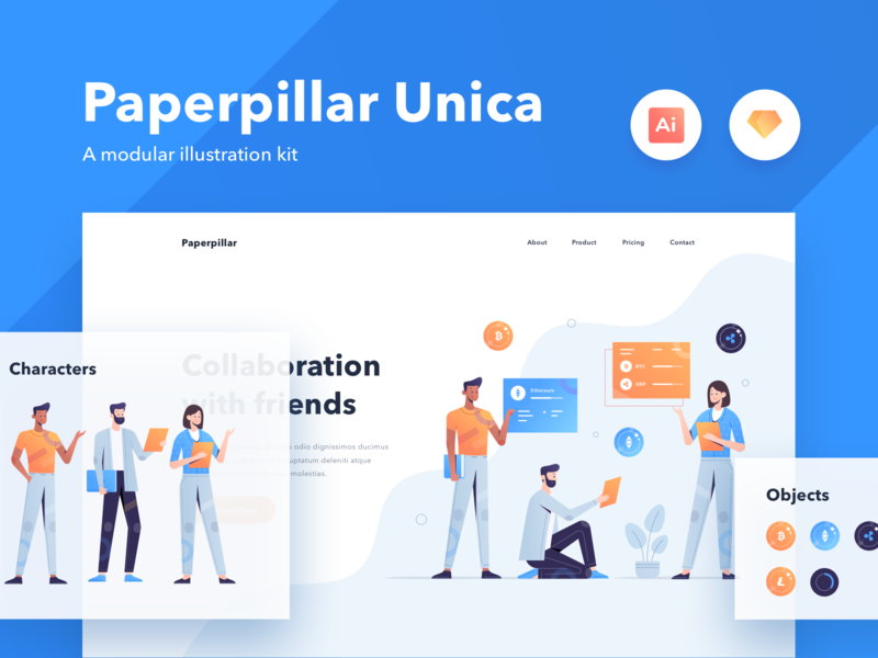 Paperpillar Unica Modular Illustration Kit Vol. 1 gradient illustration agency characters character modular product design webdesign website unica paperpillar illustration kit illustrations illustration