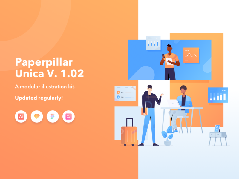 Paperpillar Unica Modular Illustration Kit Vol. 1.02 website webdesign unica design product paperpillar modular illustrations illustration kit illustration agency illustration gradient characters character