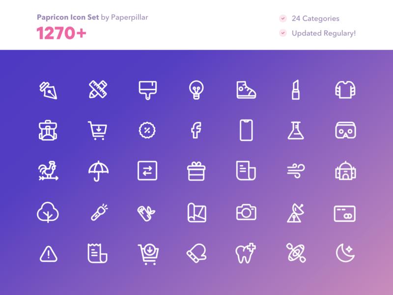 Papricon - More Than 1270 Icons icon design icon adobe xd xd figma sketch app sketch illustrator ai vector line art line icons icon kit iconography for sale line icon icons icon set