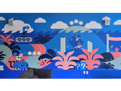 Employee lounge mural underwater mural