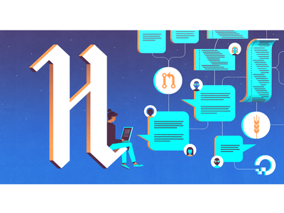 Dribbble Hacktoberfest illustration cloud tech hackathon hacktoberfest