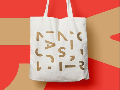 Origin Malts Tote branding brand swag gold red letters letterforms abstract pattern totebag tote columbus ohio brewery brewing malting malts malt origin