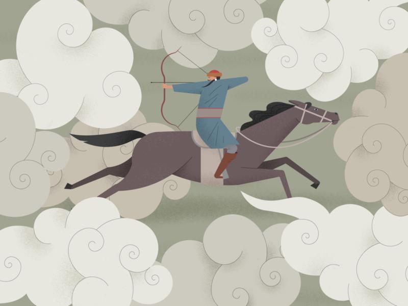 Mongol archer horse asia mongolian illustrator procreate archer mongolia