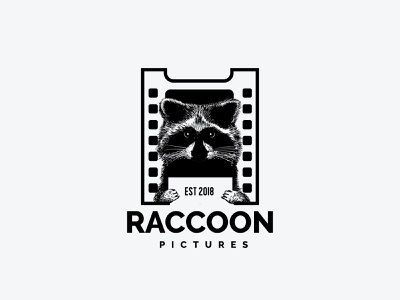 Raccoon Pictures production film producers logo drawing raccoon cinema movies